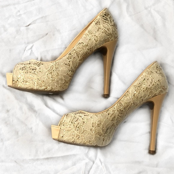 Guess Shoes | Gold Lace Heels | Poshmark